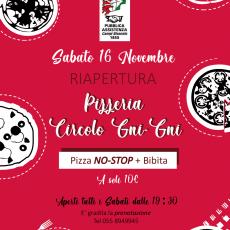 Riapertura Pizzeria del Circolo Gni Gni 2019